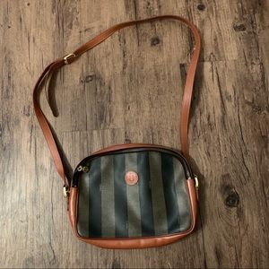 Vintage Fendi Pequin Striped Crossbody Bag